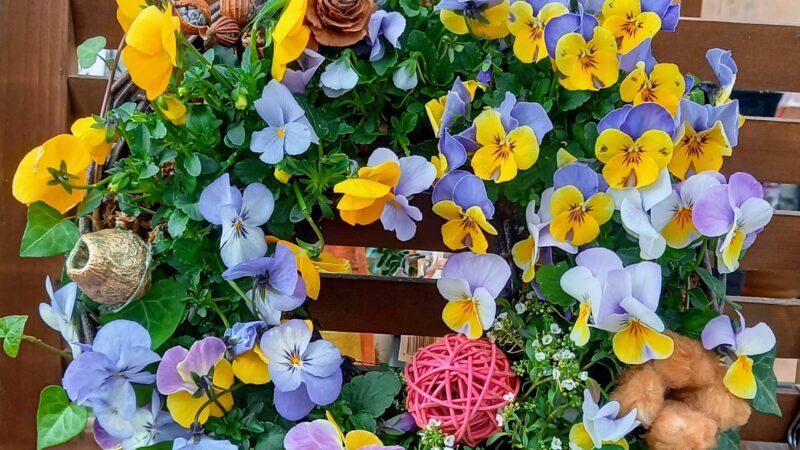 基本的なお花とカラーリーフを使ったリースの作り方